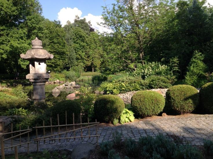 Kiviveistos, kivetty käytävä ja havuistutuksia japanilaisessa puutarhassa