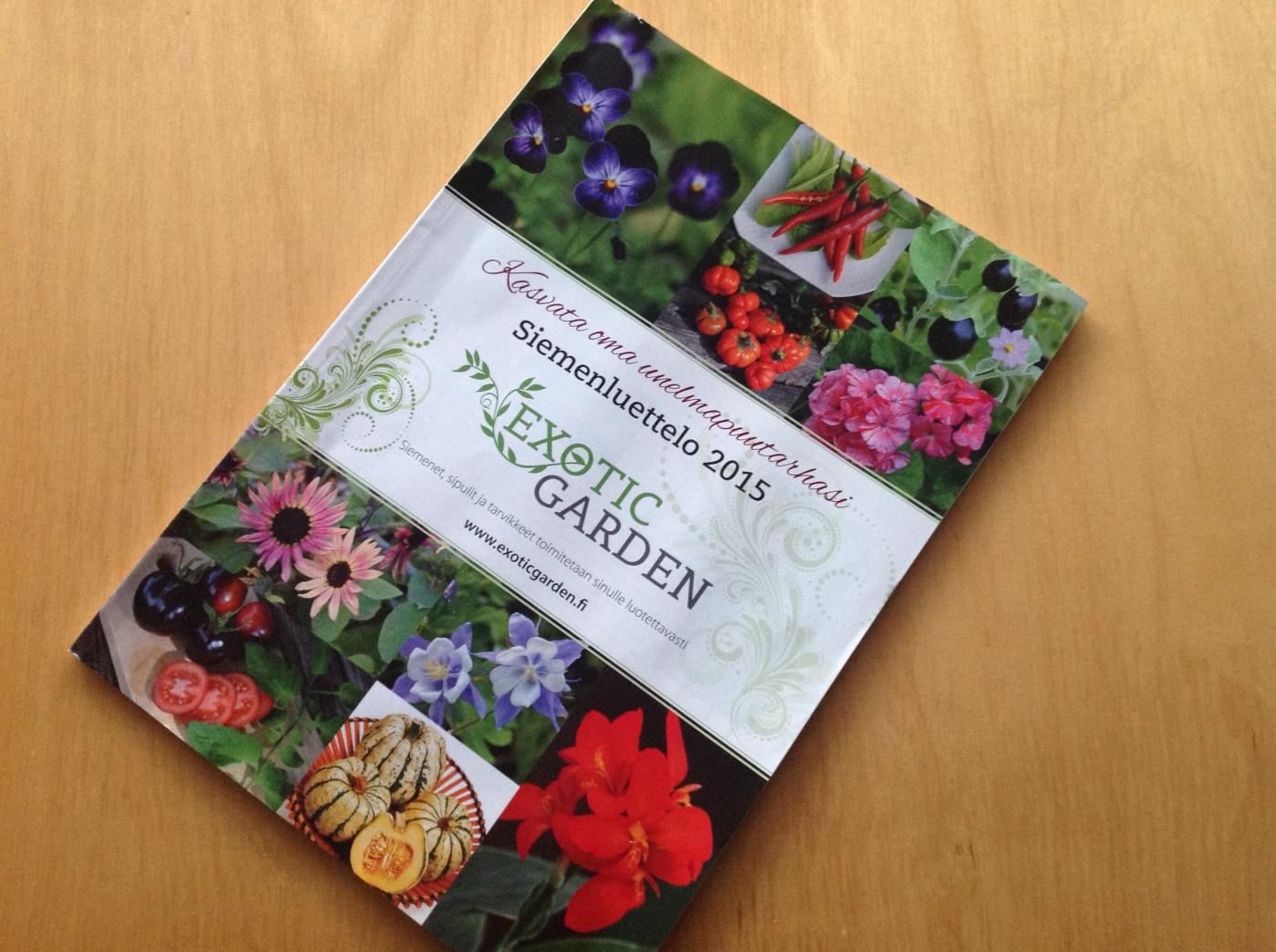 Excotic Gardenin siemenluettelo