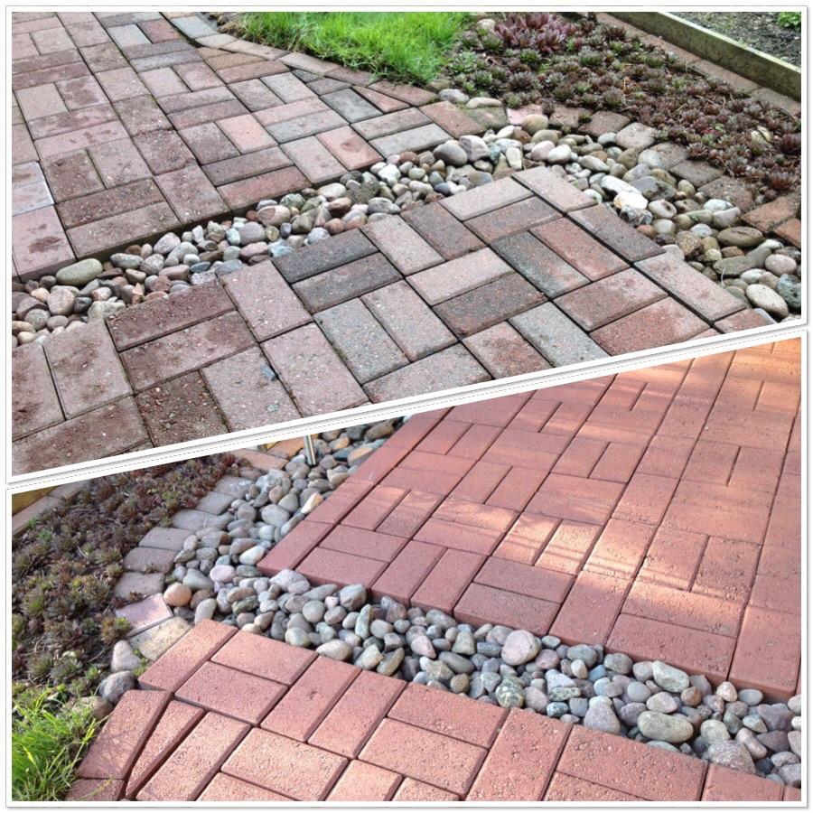 Terassin betonilaatat harmaina ja kivikuullotekäsittelyn jälkeen punaisina.